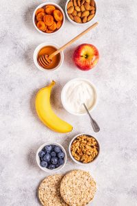 bowls with healthy snacks